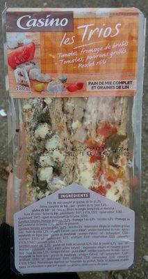 les Trios: tomates, fromage de brebis - tomates, poivrons grillés - poulet rôti // pain de mie complet et graines de lin - Produit