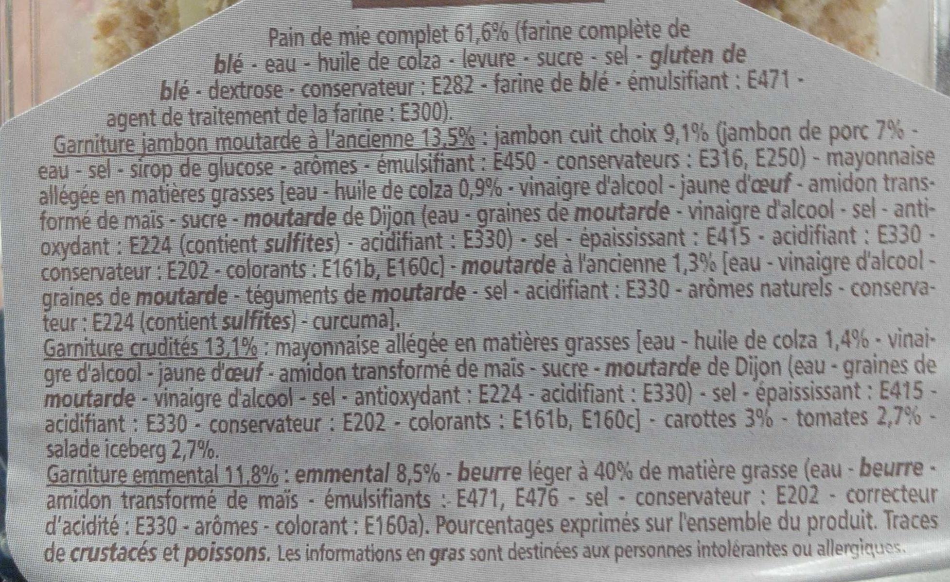 les Trios Pain Complet - Jambon, Moutarde - Crudités - Emmental - Ingredients