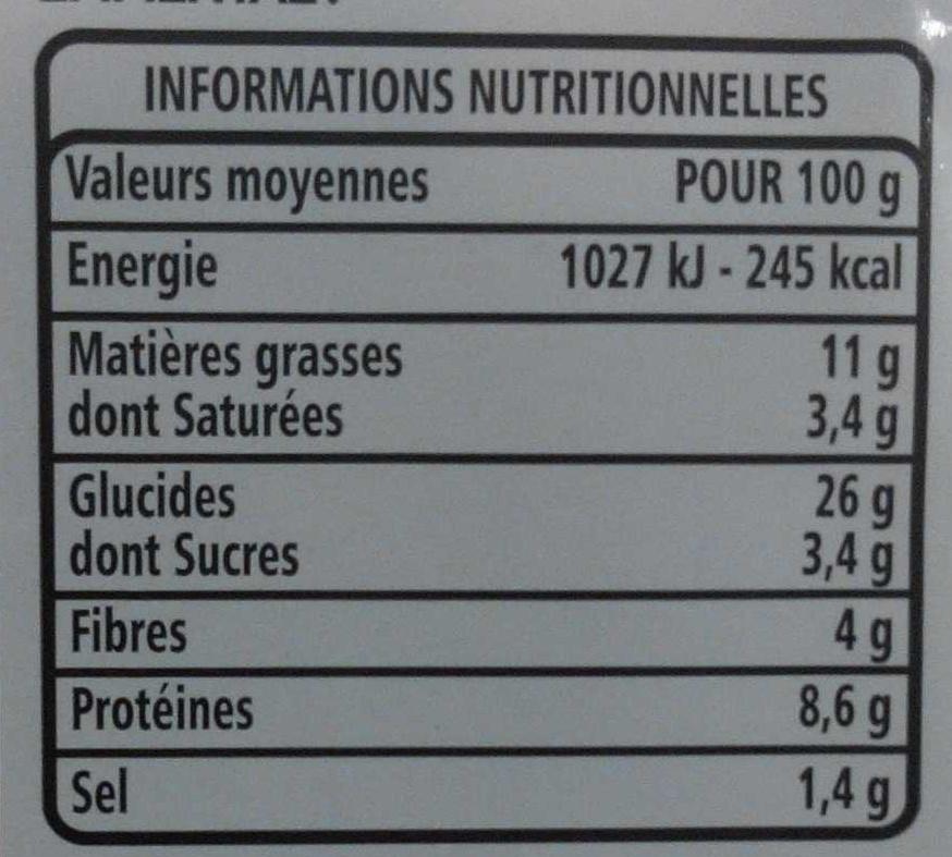 les Trios Pain Complet - Jambon, Moutarde - Crudités - Emmental - Nutrition facts