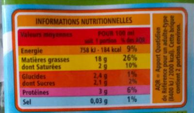 Soja cuisine BIO - Nutrition facts - fr