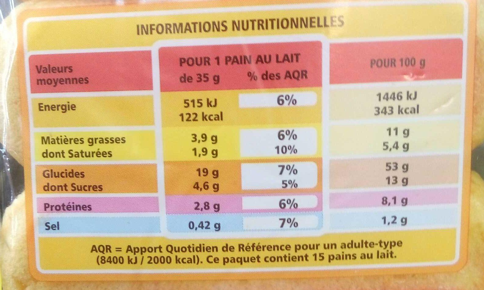 15 Pains au lait - Nutrition facts - fr