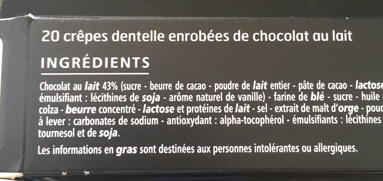 Crêpes dentelle au chocolat au lait - Ingrediënten - fr