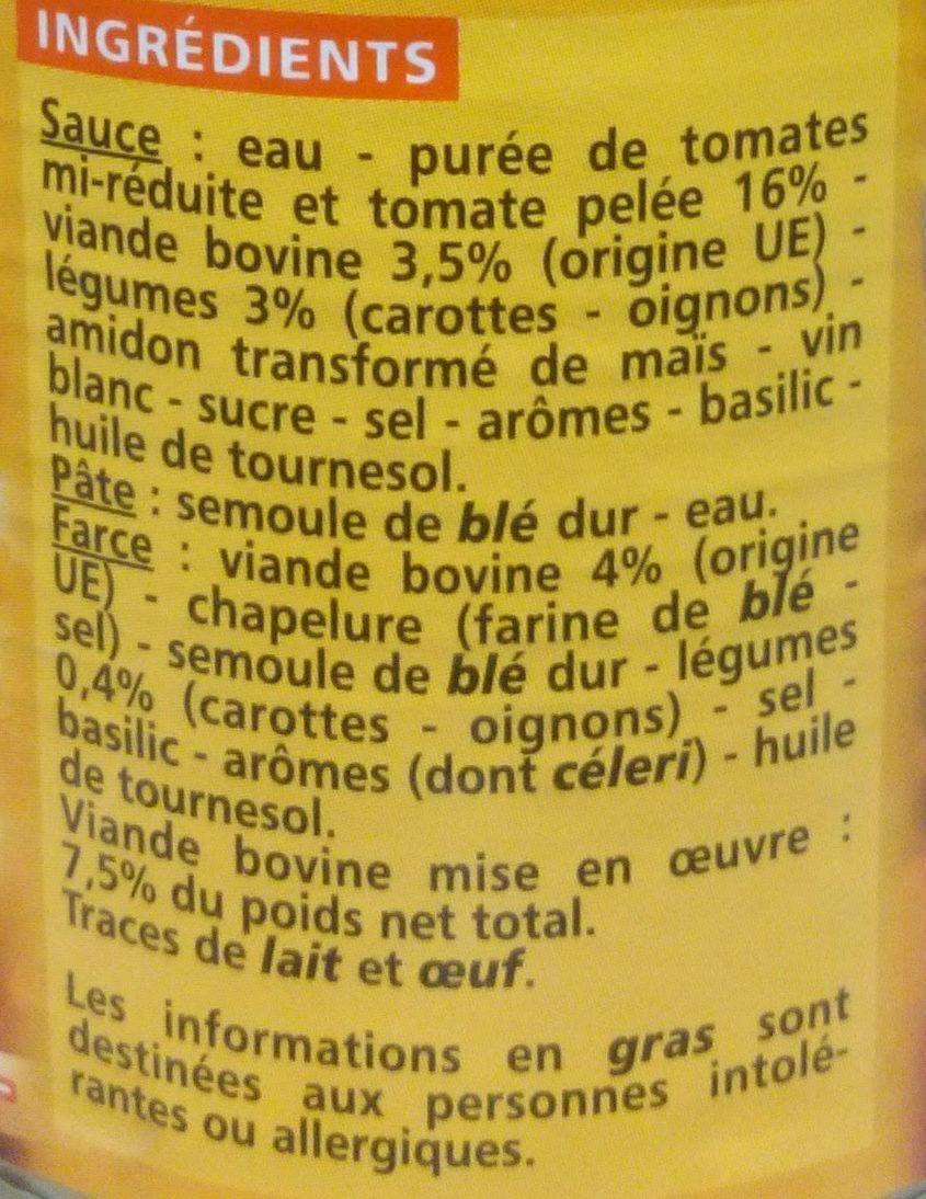 Ravioli Pur Bœuf Sauce Italienne - Ingrédients