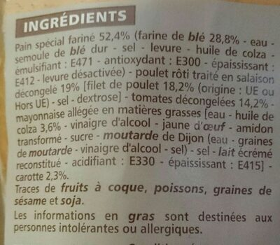 Sandwich Baguette Poulet rôti Crudités - Ingrédients - fr
