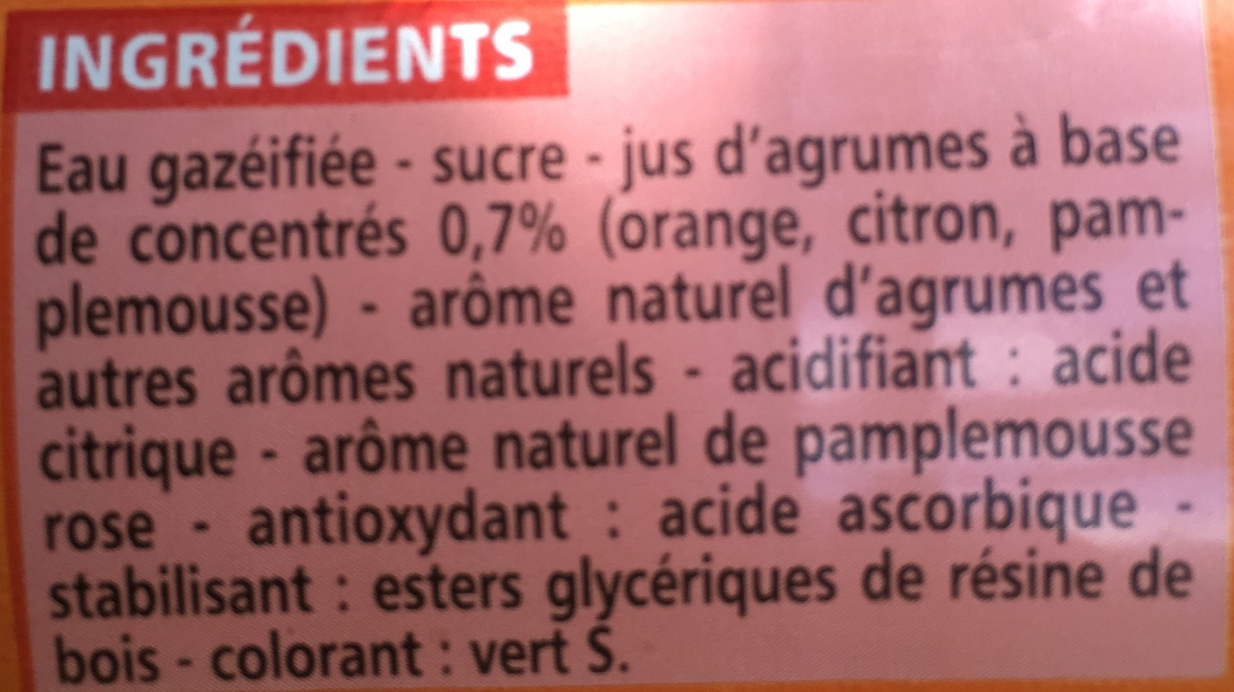 Agrumes - saveur orange, citron et pamplemousse - Ingrediënten