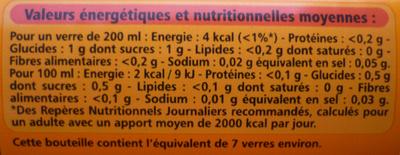 Agrumes light - saveur orange, citron et pamplemousse - Informations nutritionnelles