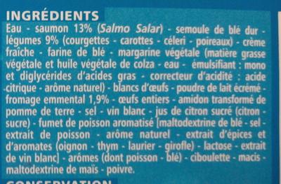 Lasagnes aux 2 saumons et aux petits légumes - Inhaltsstoffe