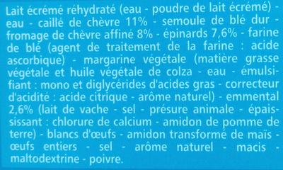 Lasagnes au chèvre et aux épinards - Ingrediënten