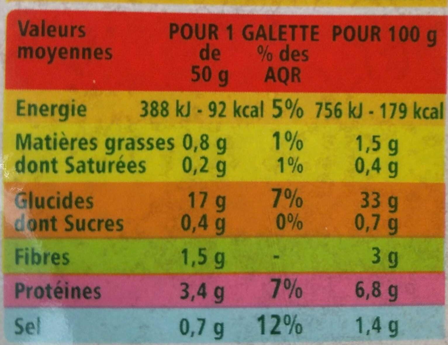 4 galettes de blé noir BIO - Informations nutritionnelles - fr
