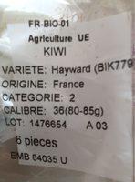Barquette 6 Kiwi Bio - Ingrediënten - fr