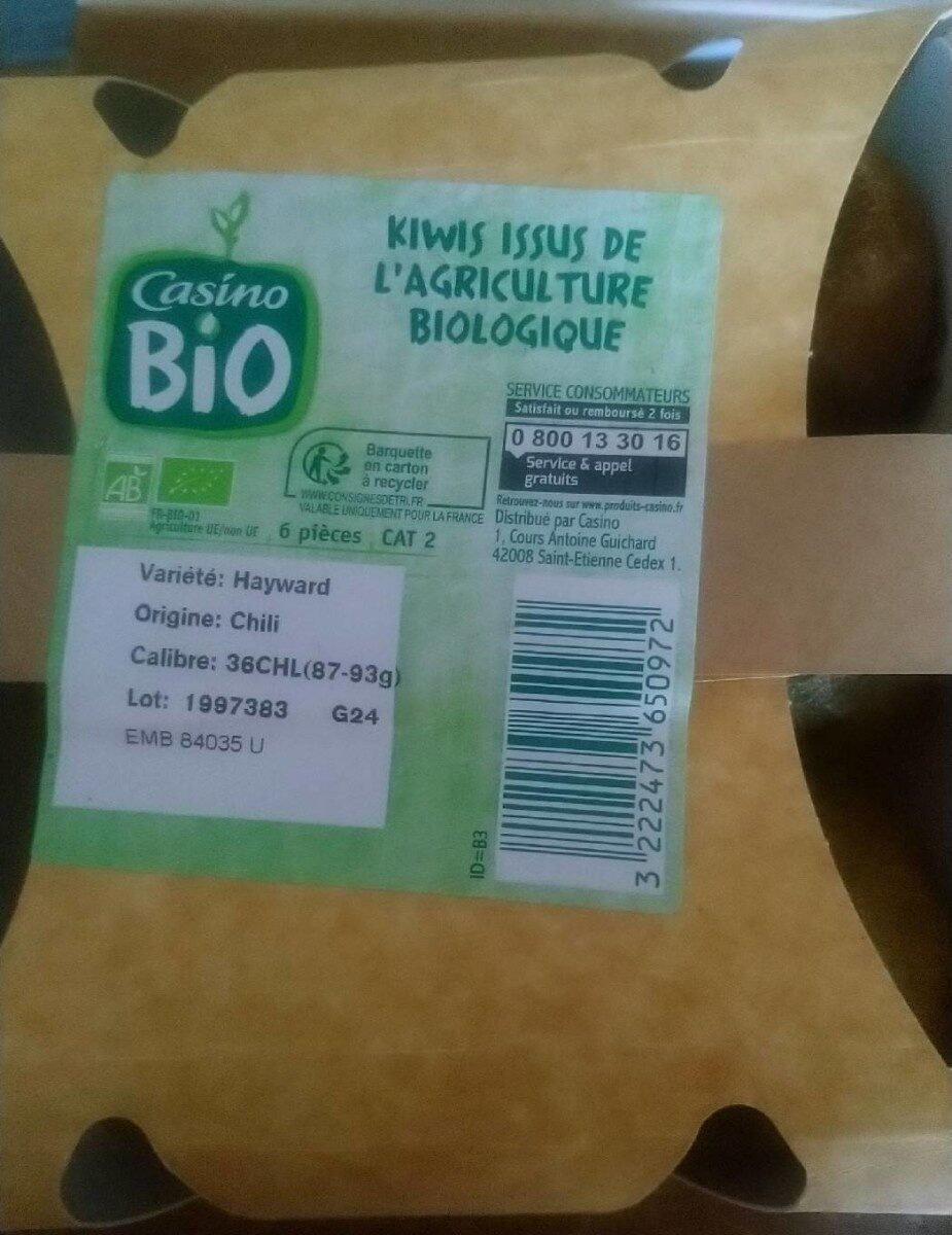 Barquette 6 Kiwi Bio - Voedingswaarden - fr