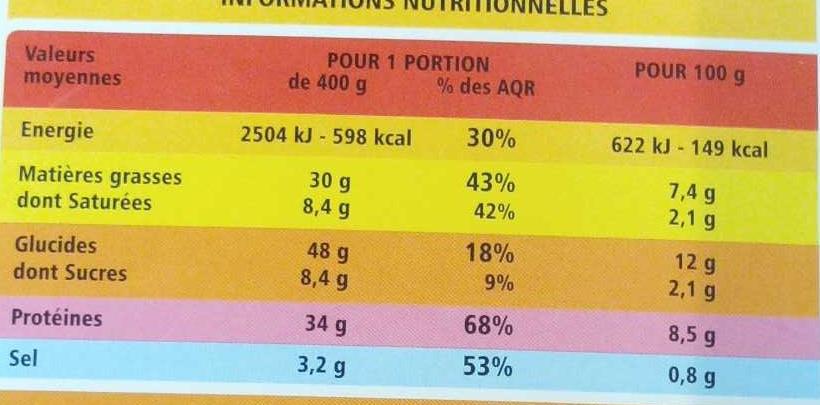 Paella au poulet et aux fruits de mer - Nutrition facts
