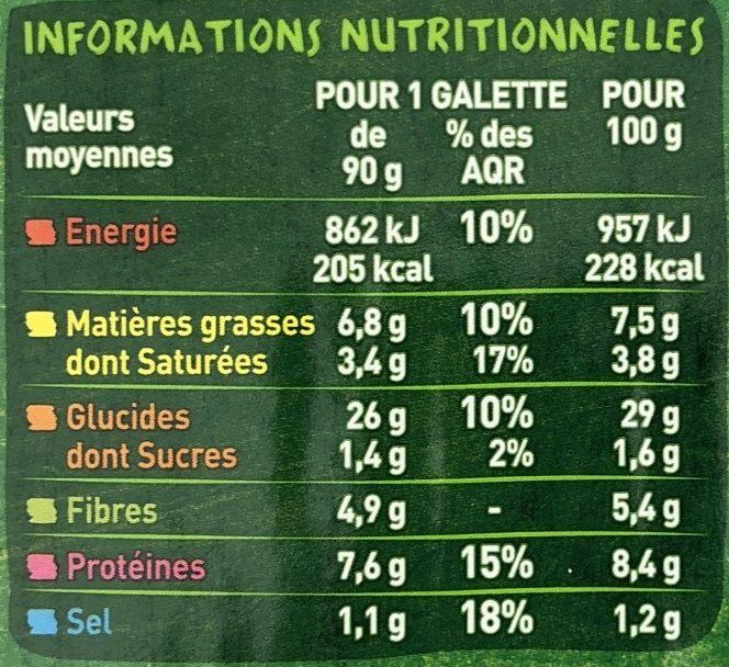 Fines galettes de céréales complétes aux deux fromages CASINO BIO - Nutrition facts - fr