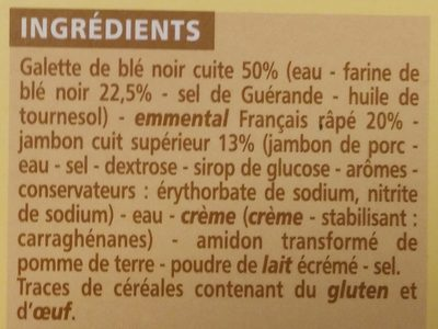 Galettes au blé noir Jambon-Emmental - Ingrédients - fr