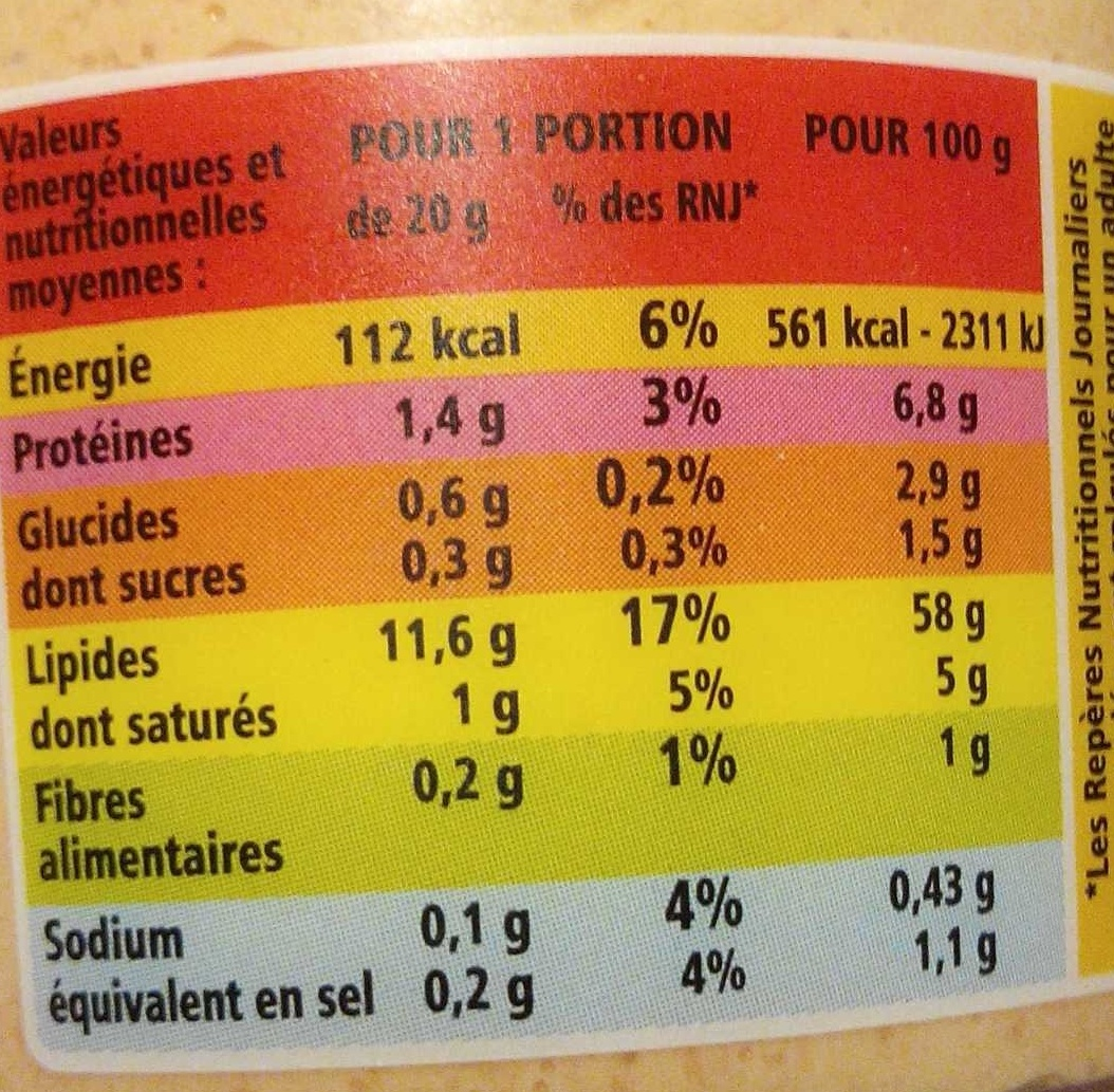 Tarama Au saumon fumé - Nutrition facts