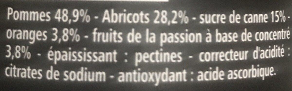 Compote Pommes Abricots Oranges Passion avec morceaux fondants - Ingredients - fr