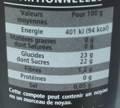 Compote Pommes Abricots Oranges Passion avec morceaux fondants - Nutrition facts - fr