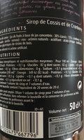 Sirop Cassis Cranberry 50cl - Ingrediënten - fr