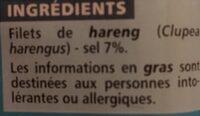 Filets de Harengs Fumés au naturel - Ingrédients - fr