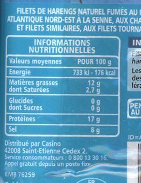 Filets de Harengs Fumés au naturel - Informations nutritionnelles - fr