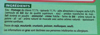 Lasagnes au chèvre et aux épinards - Ingredients - fr