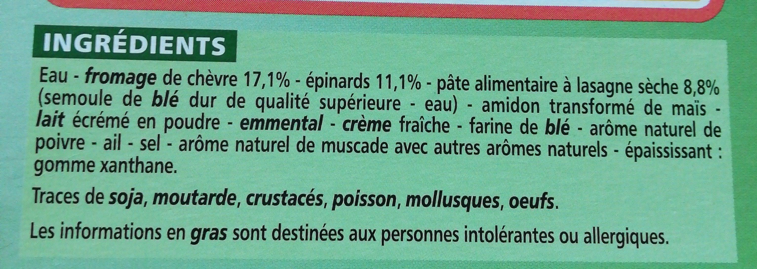 Lasagnes au chèvre et aux épinards - Ingrediënten - fr