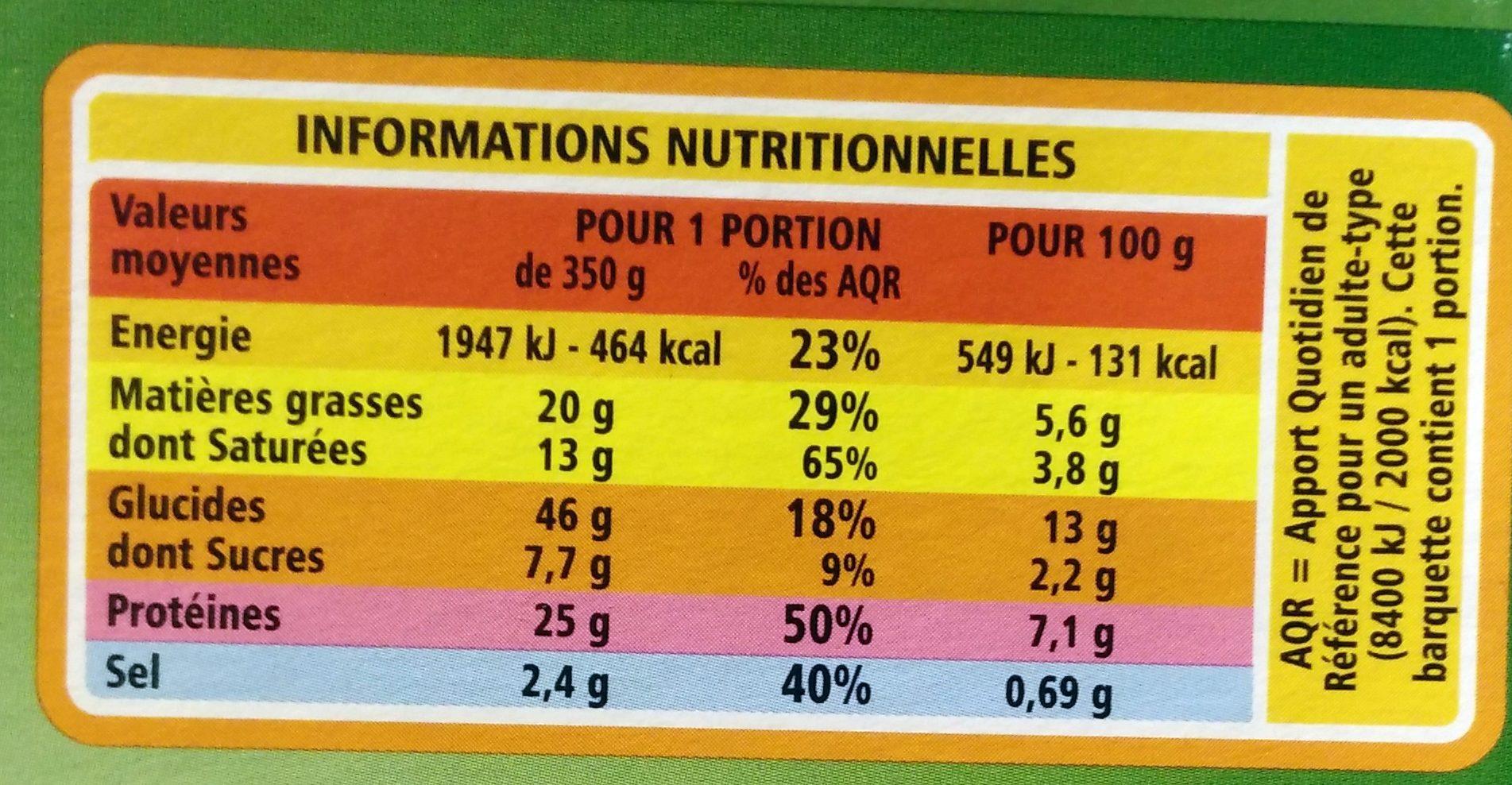 Lasagnes au chèvre et aux épinards - Nutrition facts - fr