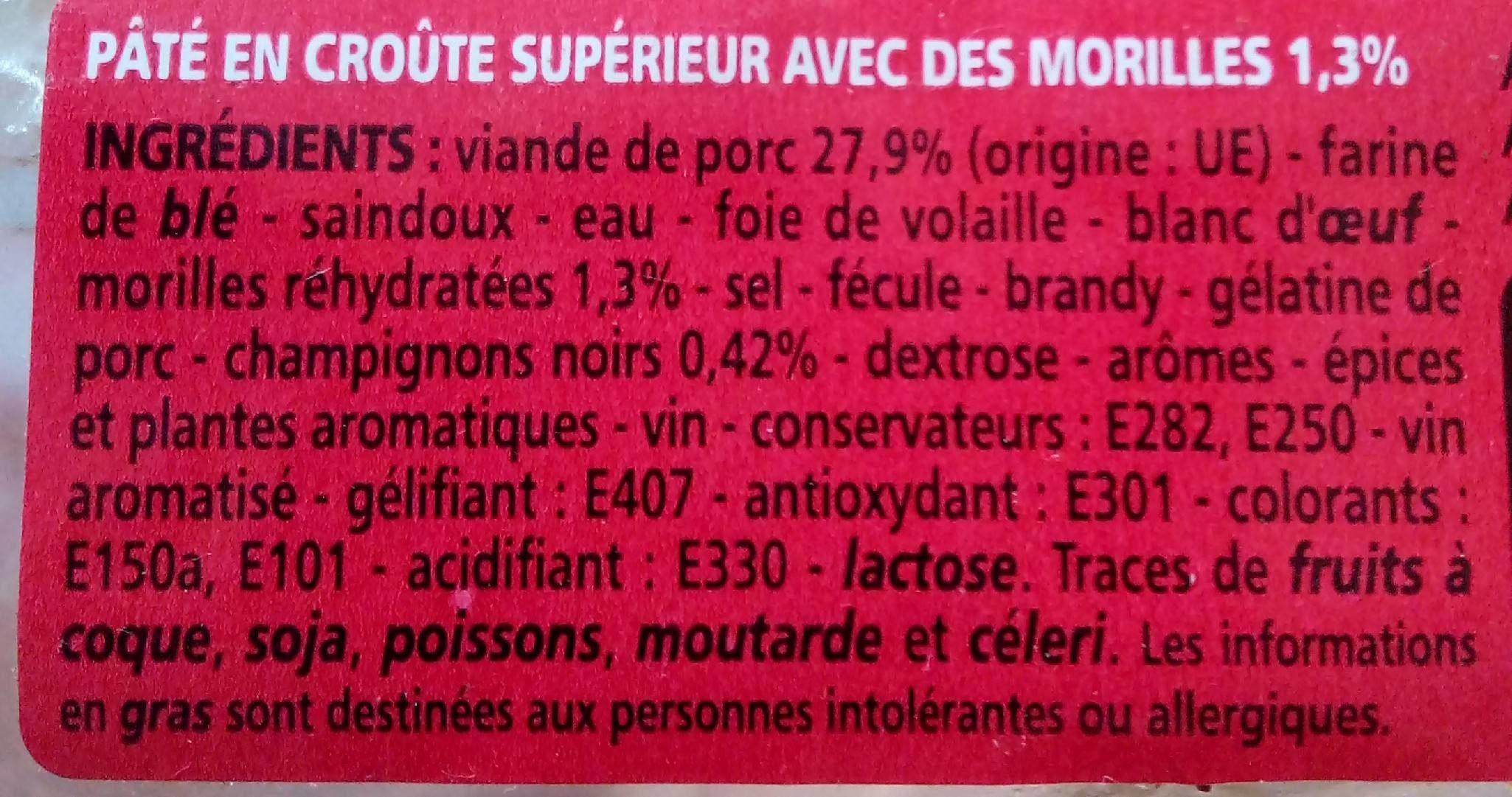 Pâté en croûte supérieur avec des morilles 1,3 %, pâte saindoux - Ingredienti - fr