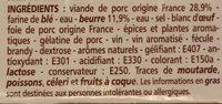 Pâté en croûte supérieur Label Rouge - Ingredients - fr