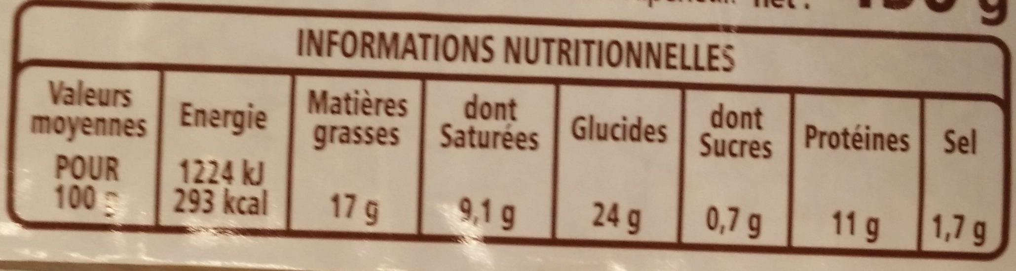 Pâté en croûte supérieur Label Rouge - Nutrition facts - fr