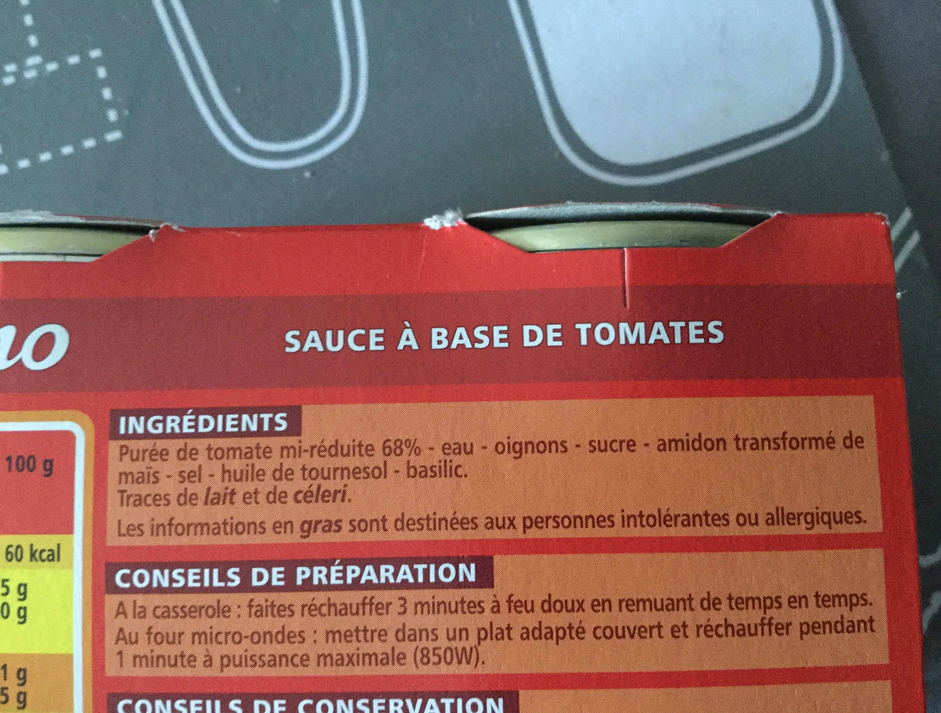 Sauce Tomate - Ingredients