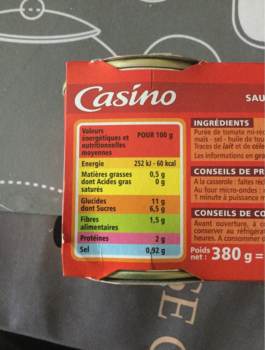 Sauce Tomate - Nutrition facts