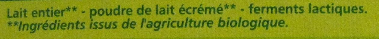Yaourt nature issu de l'agriculture biologique - Ingrediënten