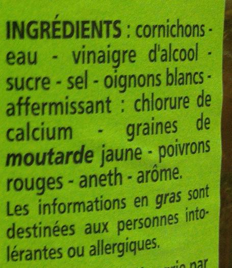Cornichons aigres-doux Spécial Sandwich & Hamburger - Ingredients