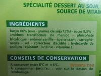 Spécialité au soja saveur vanille source de calcium - Ingrédients - fr