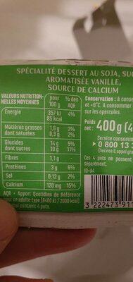 Spécialité au soja saveur vanille source de calcium - Informations nutritionnelles - fr