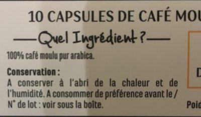 Capsules de café - Doux - Zutaten - fr