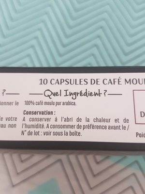 Casino capsules de café - Pur Arabica - Ingredients - fr