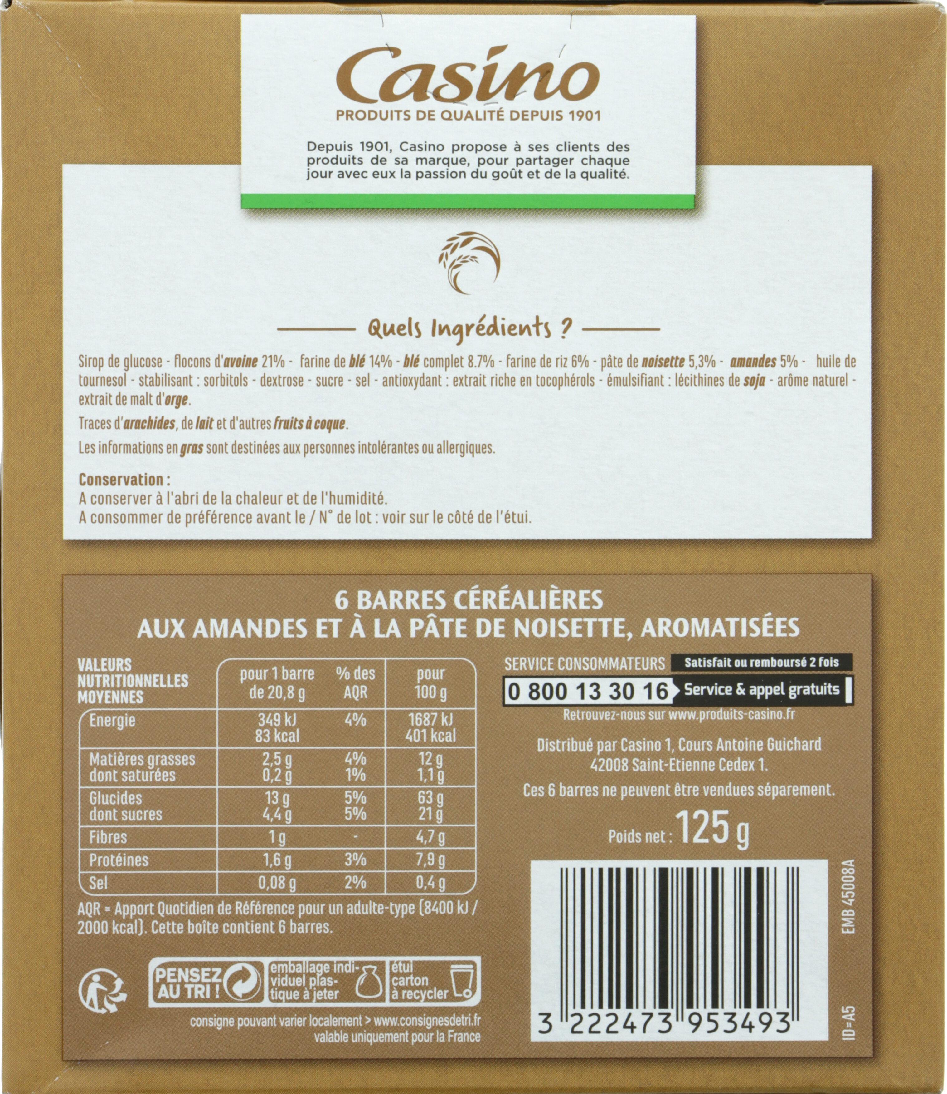 Barres céréales amandes noisettes - Nutrition facts
