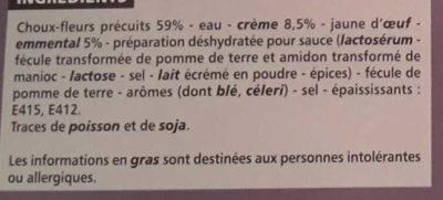 4 Mini Gratins Choux-fleurs - Ingredients
