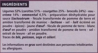 4 Mini Gratins Légumes - Ingrédients - fr