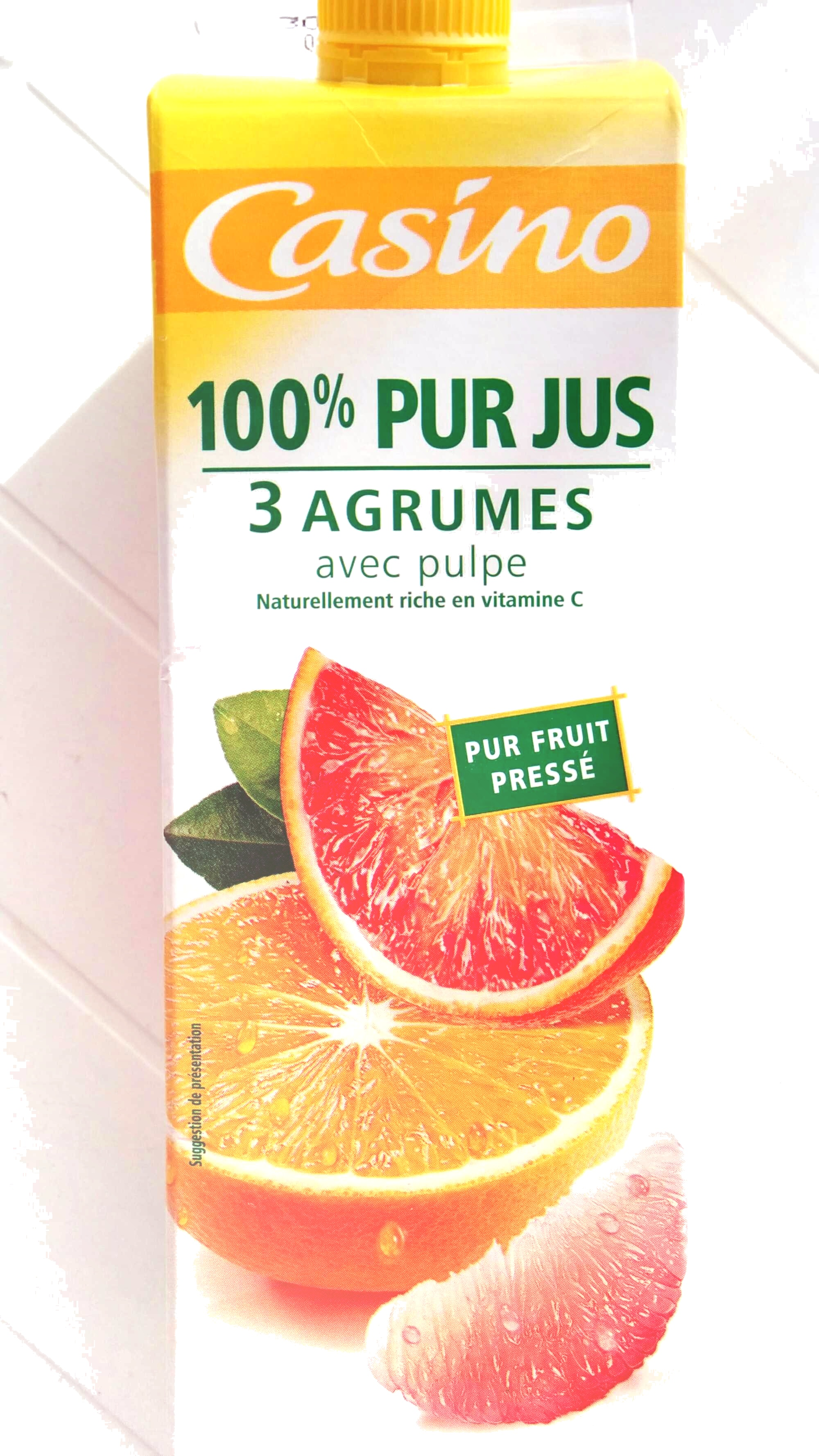 100% Pur jus 3 Agrumes avec Pulpe - Product