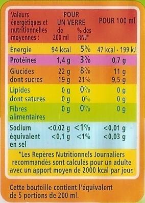 100 % Pur Jus Orange  pressée avec pulpe - Voedingswaarden - fr