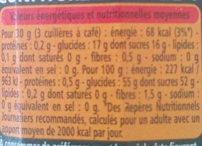 Confiture extra 4 fruits rouges - Informations nutritionnelles