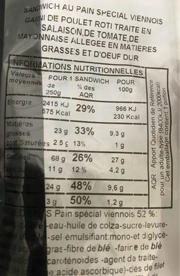 Sandwich Pain Viennois Maxi Poulet Tomate Oeuf - Nutrition facts