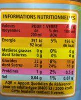 Peche teneur en fruits 50% minimum - Informations nutritionnelles - fr