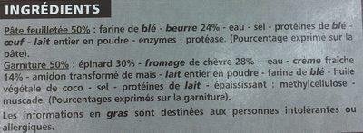 4 Entrées Feuilletées Epinards Chèvre - Ingrediënten - fr