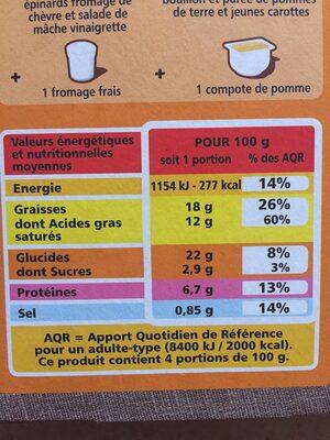 4 Entrées Feuilletées Epinards Chèvre - Voedingswaarden - fr