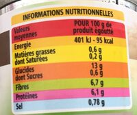 Haricots blancs préparés - Informations nutritionnelles - fr