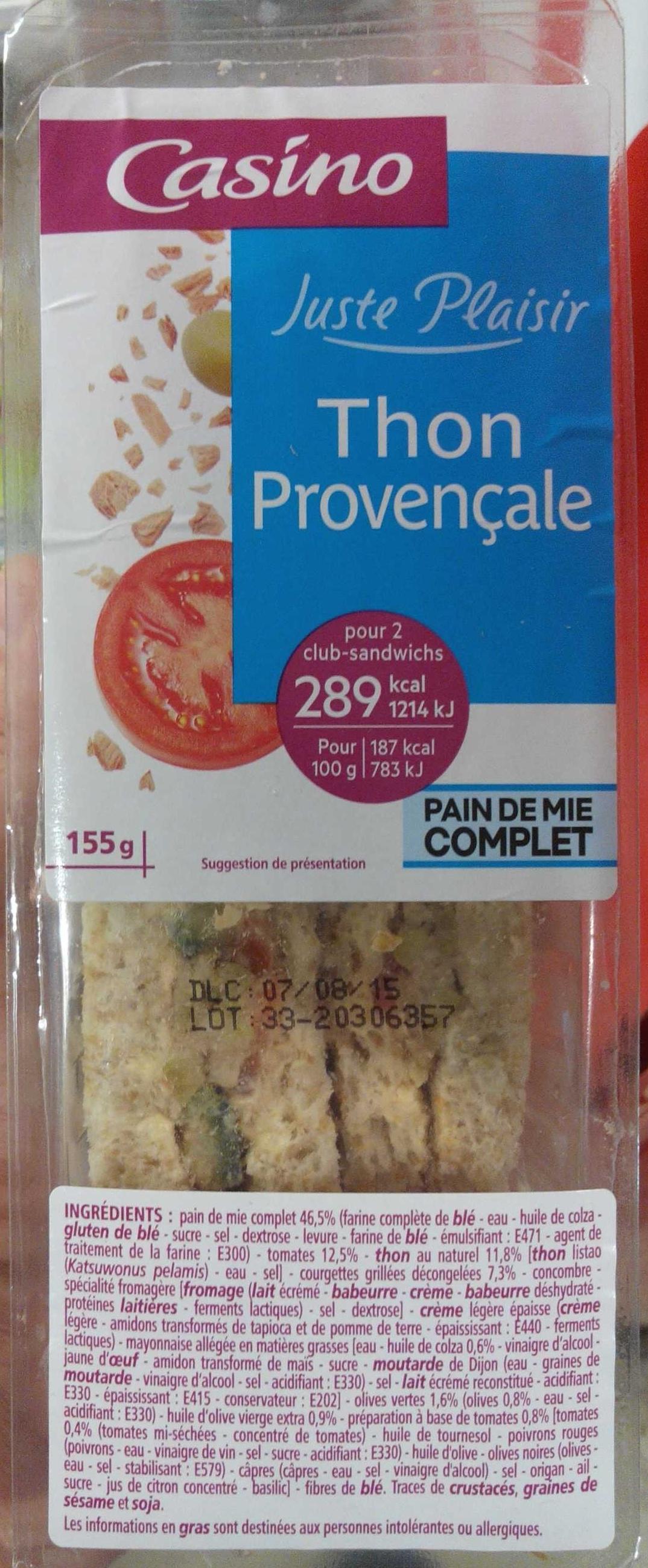 Sandwich Thon Provençale - Pain de mie complet - Product